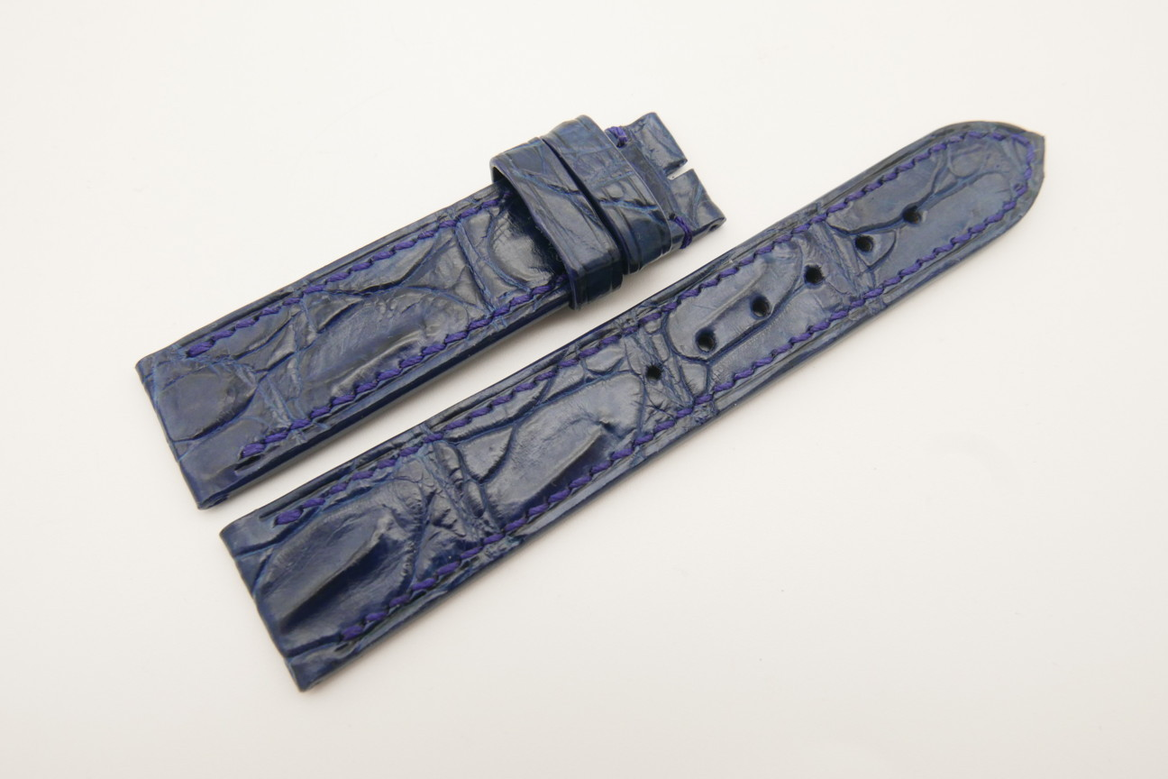 20mm/18mm Dark Navy Blue Genuine Crocodile Skin Leather Watch Strap #WT4783