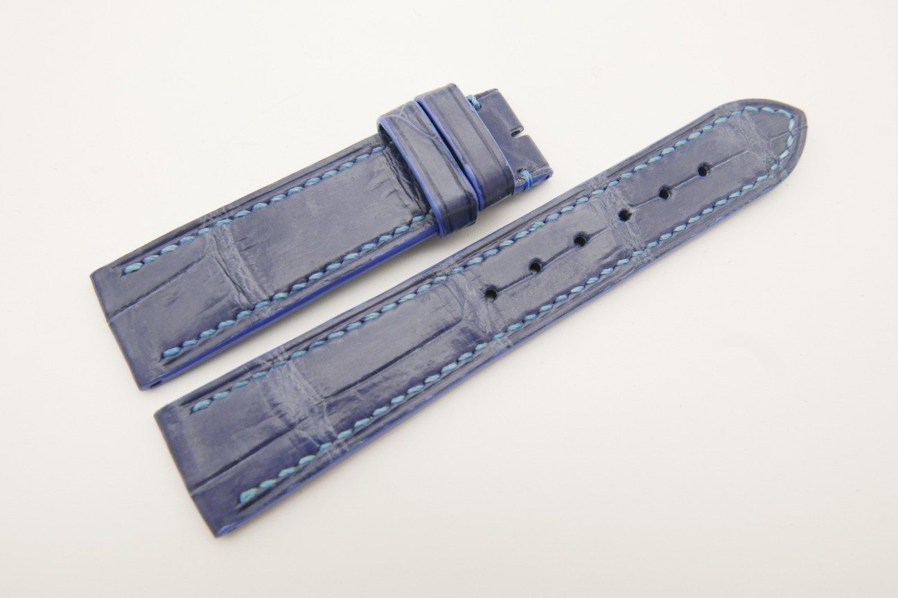 20mm/18mm Light Blue Genuine Crocodile Skin Leather Watch Strap #WT4784