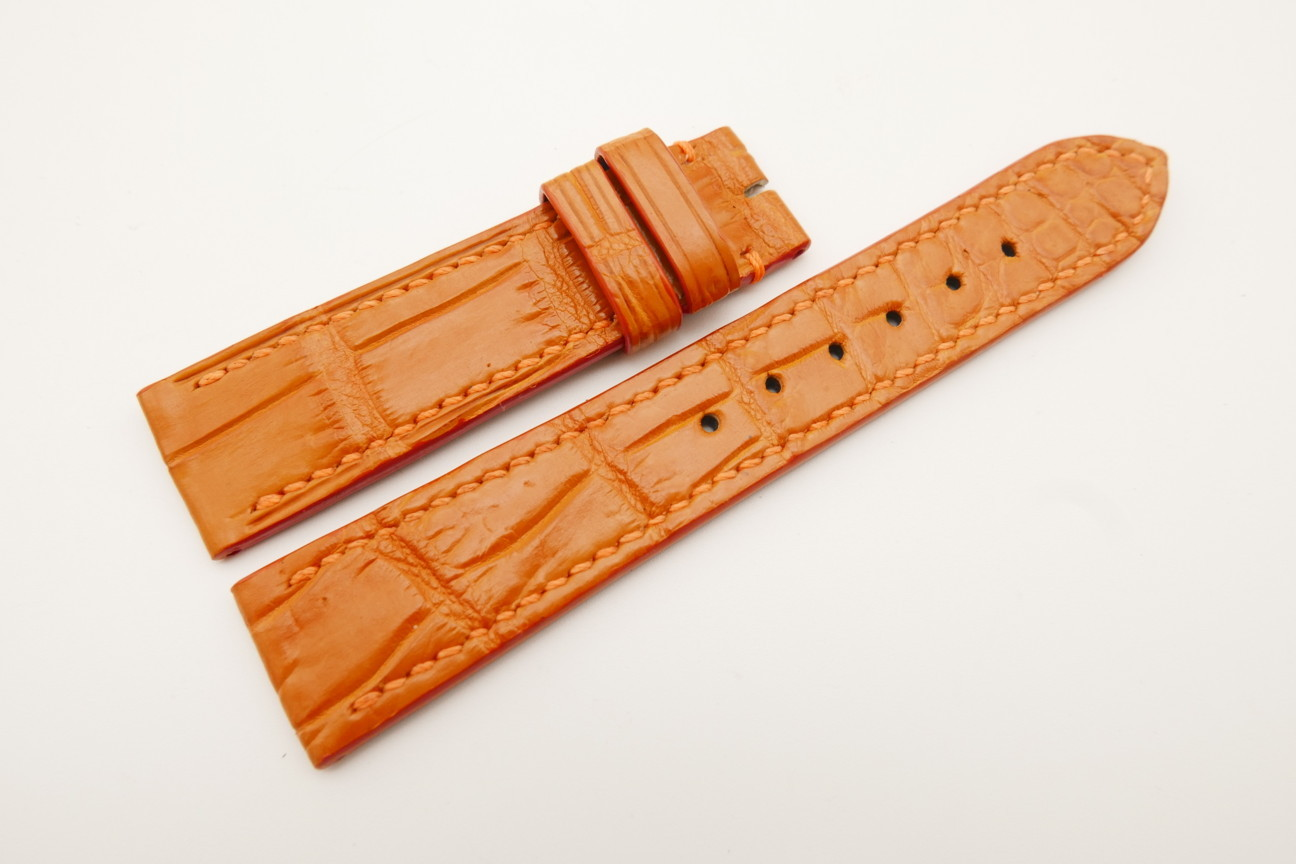 20mm/18mm Orange Genuine Crocodile Skin Leather Watch Strap #WT4786