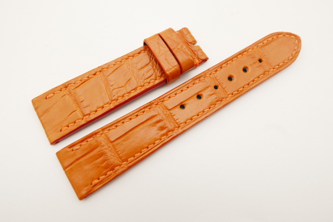 20mm/18mm Orange Genuine Crocodile Skin Leather Watch Strap #WT4787