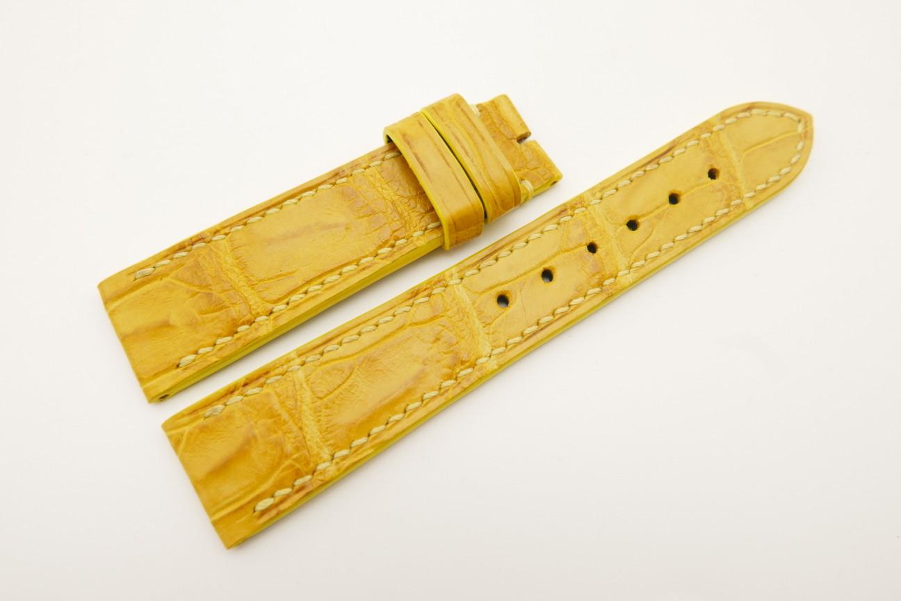20mm/18mm Yellow Genuine Crocodile Skin Leather Watch Strap #WT4792