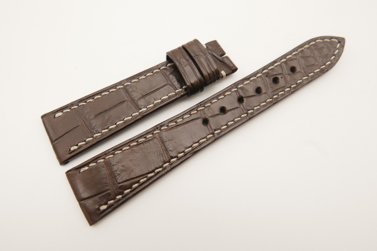 20mm/16mm Dark Brown Genuine Crocodile Skin Leather Watch Strap#WT4822
