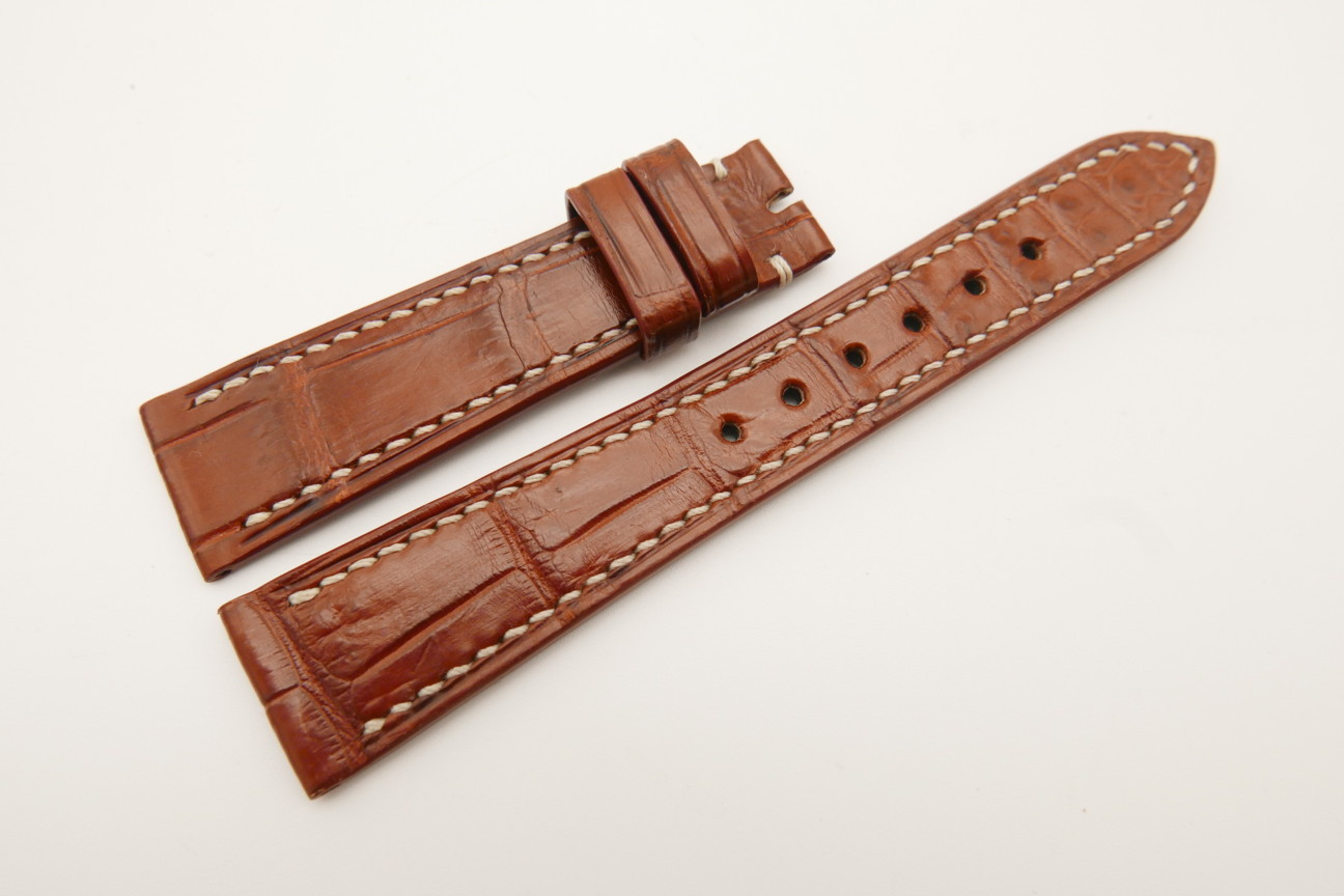 20mm/16mm Red Brown Genuine Crocodile Skin Leather Watch Strap#WT4825
