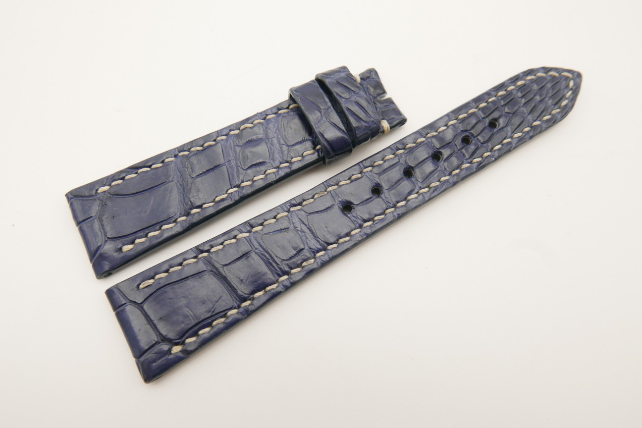20mm/16mm Navy Blue Genuine Crocodile Skin Leather Watch Strap#WT4826