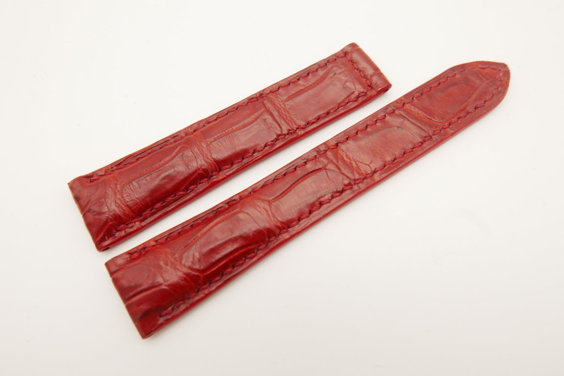 18mm/16mm Red Genuine CROCODILE Skin Leather Deployment Strap for OMEGA Watch #WT4833