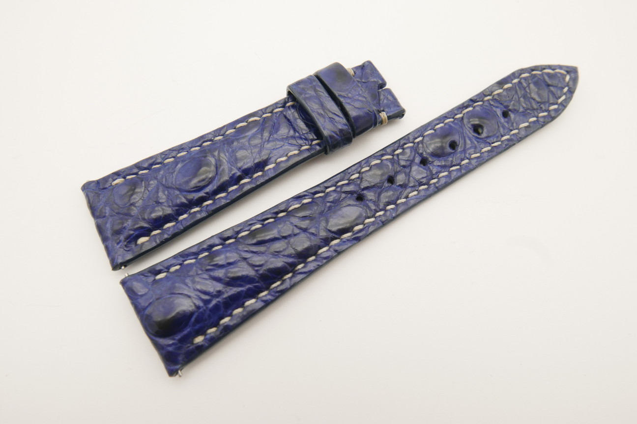21mm/16mm Dark Navy Blue Genuine Crocodile Skin Leather Watch Strap With Quick Release Function #WT4843