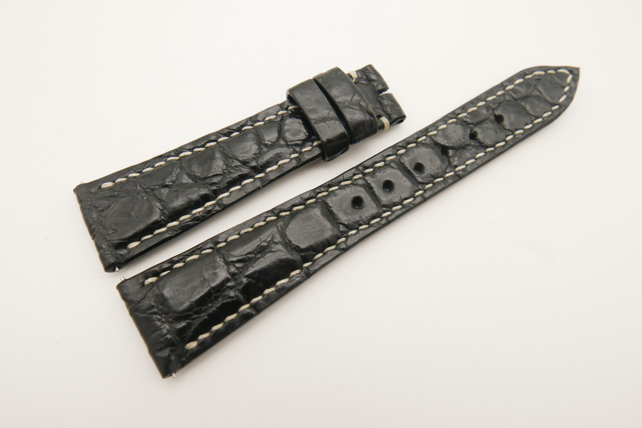 21mm/16mm Black Genuine Crocodile Skin Leather Watch Strap With Quick Release Function #WT4849