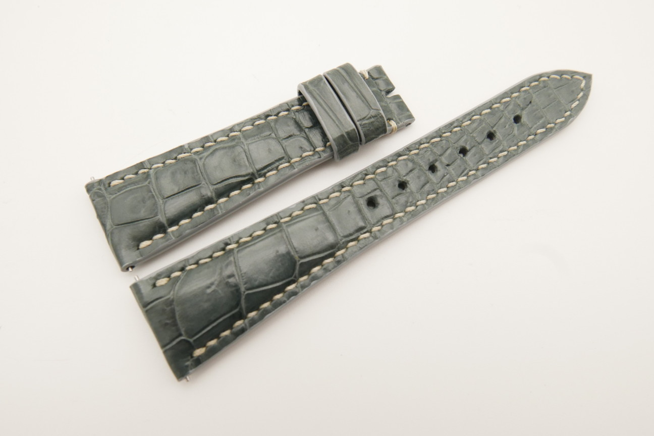 21mm/16mm Gray Genuine Crocodile Skin Leather Watch Strap With Quick Release Function #WT4850