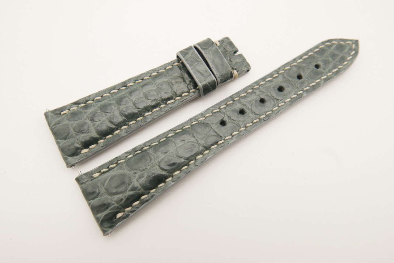 21mm/16mm Gray Genuine Crocodile Skin Leather Watch Strap With Quick Release Function #WT4851