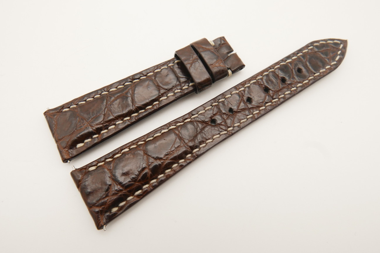 21mm/16mm Dark Brown Genuine Crocodile Skin Leather Watch Strap With Quick Release Function #WT4854