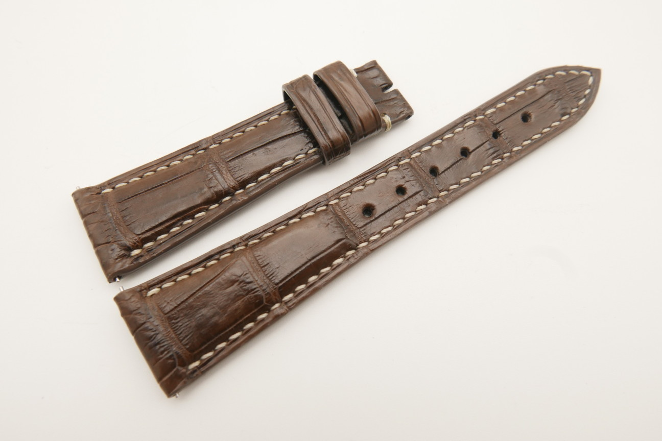 21mm/16mm Brown Genuine Crocodile Skin Leather Watch Strap With Quick Release Function #WT4857