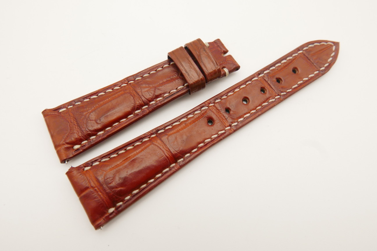 21mm/16mm Red Brown Genuine Crocodile Skin Leather Watch Strap With Quick Release Function #WT4858
