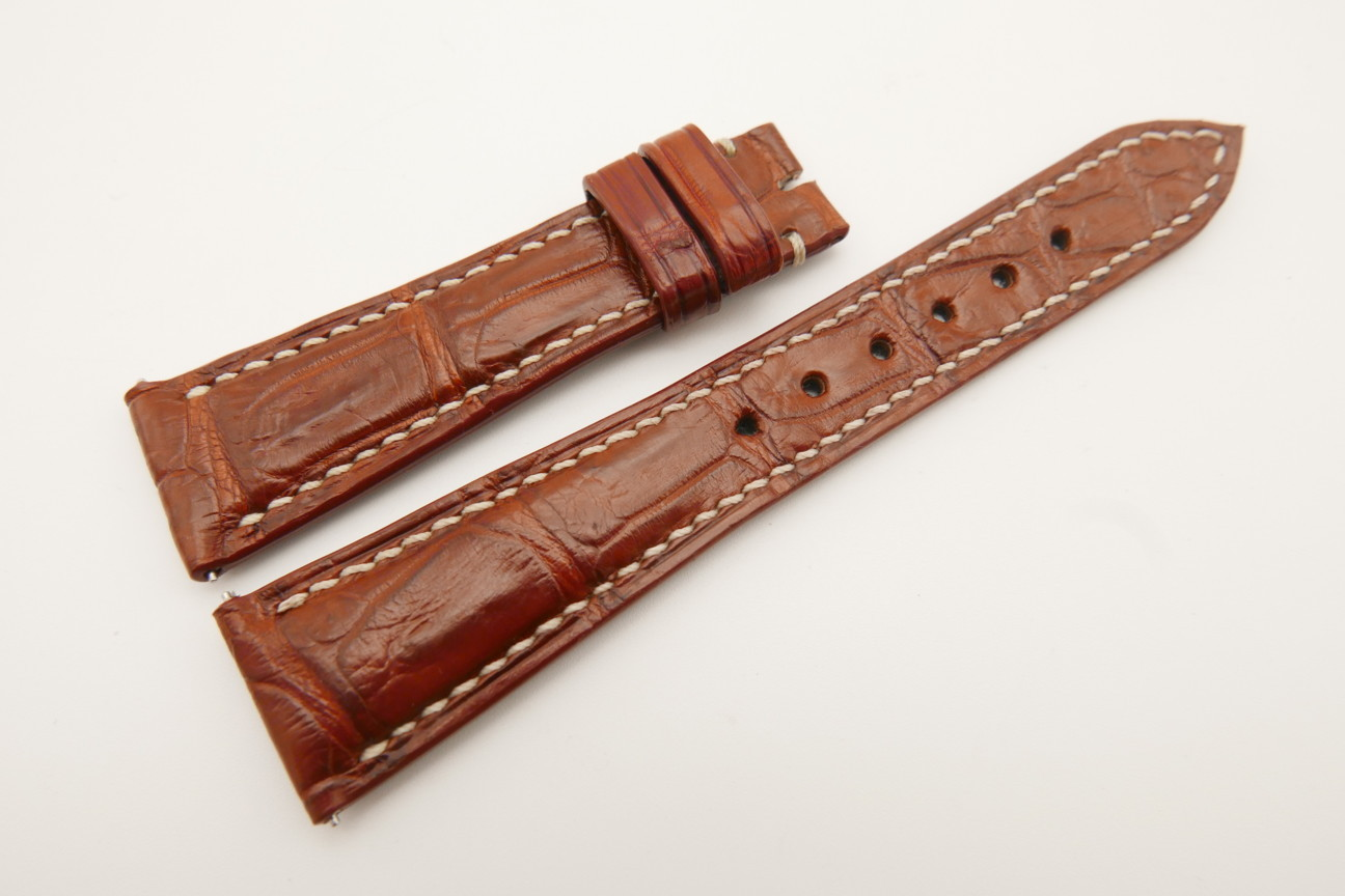 21mm/16mm Red Brown Genuine Crocodile Skin Leather Watch Strap With Quick Release Function #WT4859