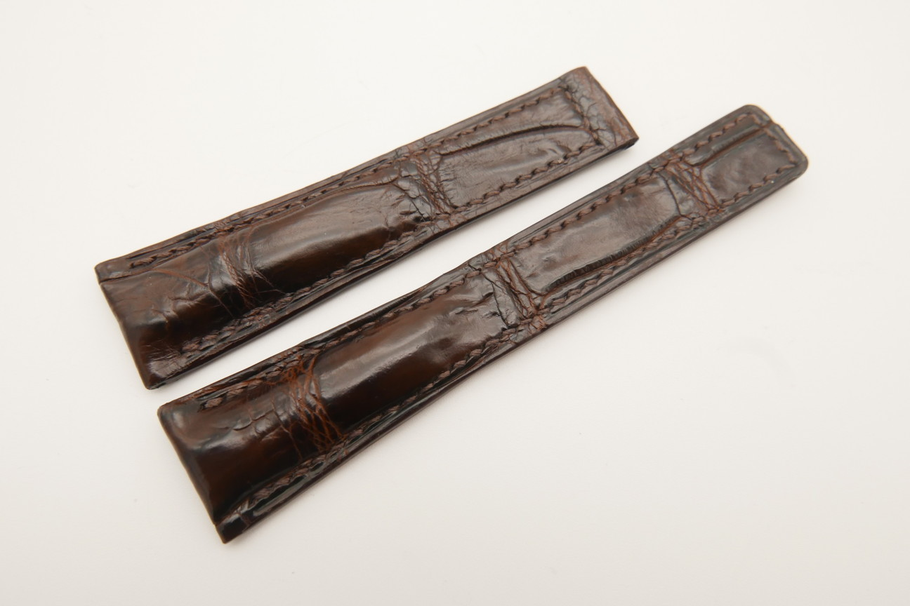20mm/16mm Dark Brown Genuine CROCODILE Skin Leather Deployment Strap For Tag Heuer #WT4866