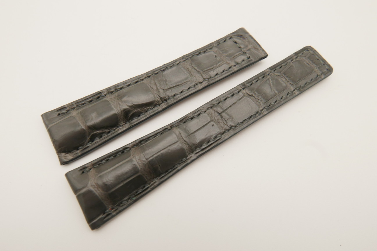 20mm/16mm Gray Genuine CROCODILE Skin Leather Deployment Strap For Tag Heuer #WT4868