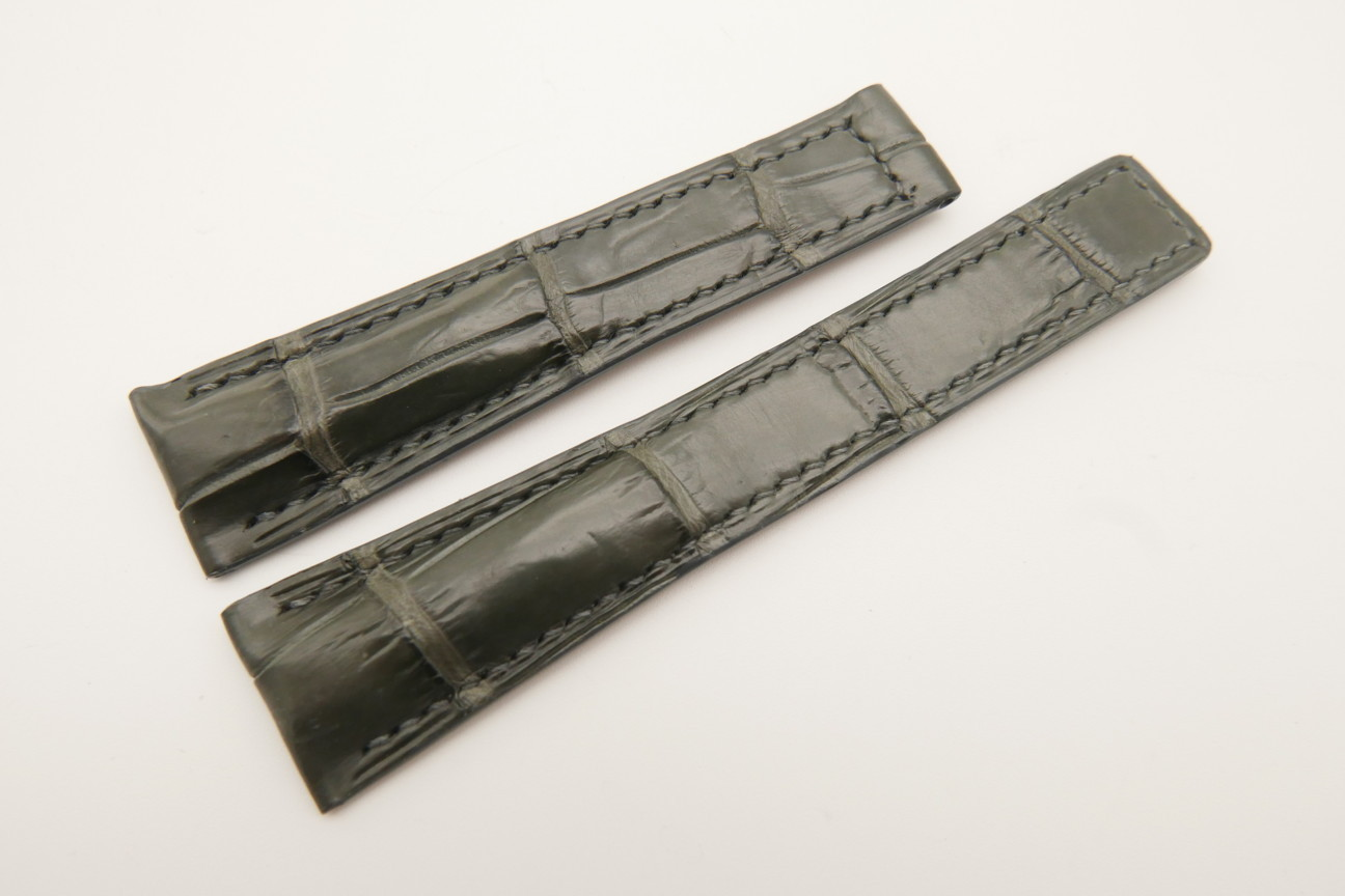 20mm/16mm Gray Genuine CROCODILE Skin Leather Deployment Strap For Tag Heuer #WT4869