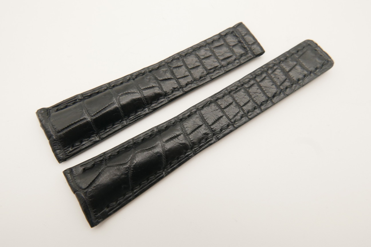 20mm/16mm Black Genuine CROCODILE Skin Leather Deployment Strap For Tag Heuer #WT4871