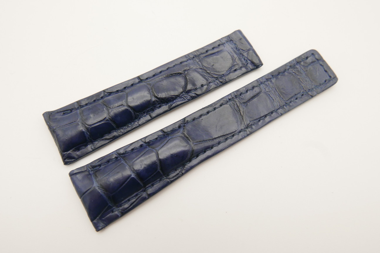 21mm/18mm Dark Navy Blue Genuine CROCODILE Skin Leather Deployment Strap For Tag Heuer #WT4872
