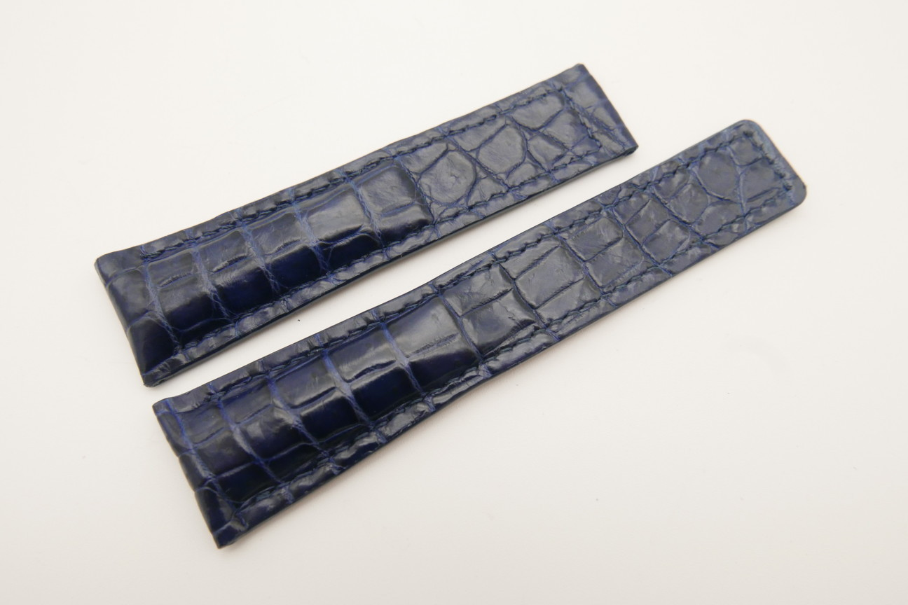21mm/18mm Dark Navy Blue Genuine CROCODILE Skin Leather Deployment Strap For Tag Heuer #WT4873