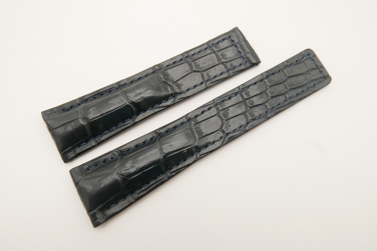 21mm/18mm Dark Gray Genuine CROCODILE Skin Leather Deployment Strap For Tag Heuer #WT4879