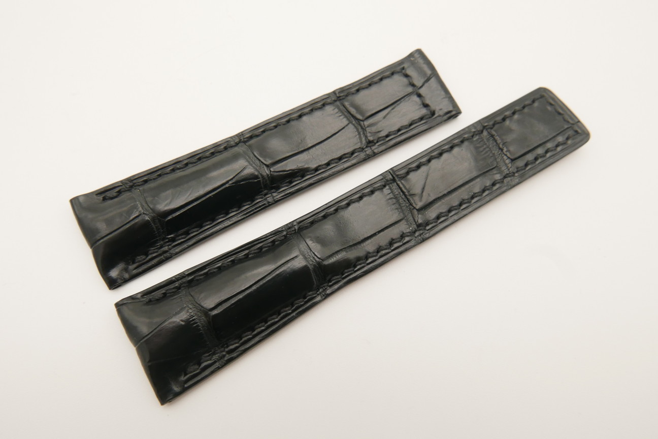 21mm/18mm Black Genuine CROCODILE Skin Leather Deployment Strap For Tag Heuer #WT4880