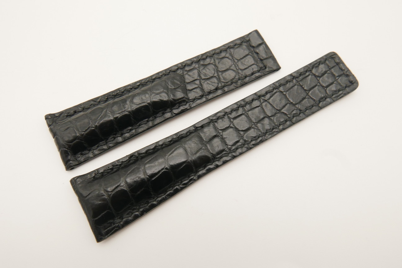 21mm/18mm Black Genuine CROCODILE Skin Leather Deployment Strap For Tag Heuer #WT4881