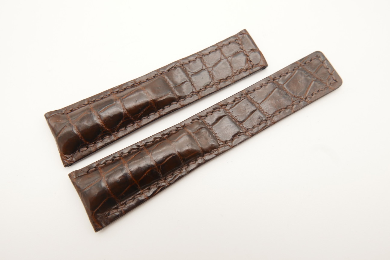 21mm/18mm Dark Brown Genuine CROCODILE Skin Leather Deployment Strap For Tag Heuer #WT4882