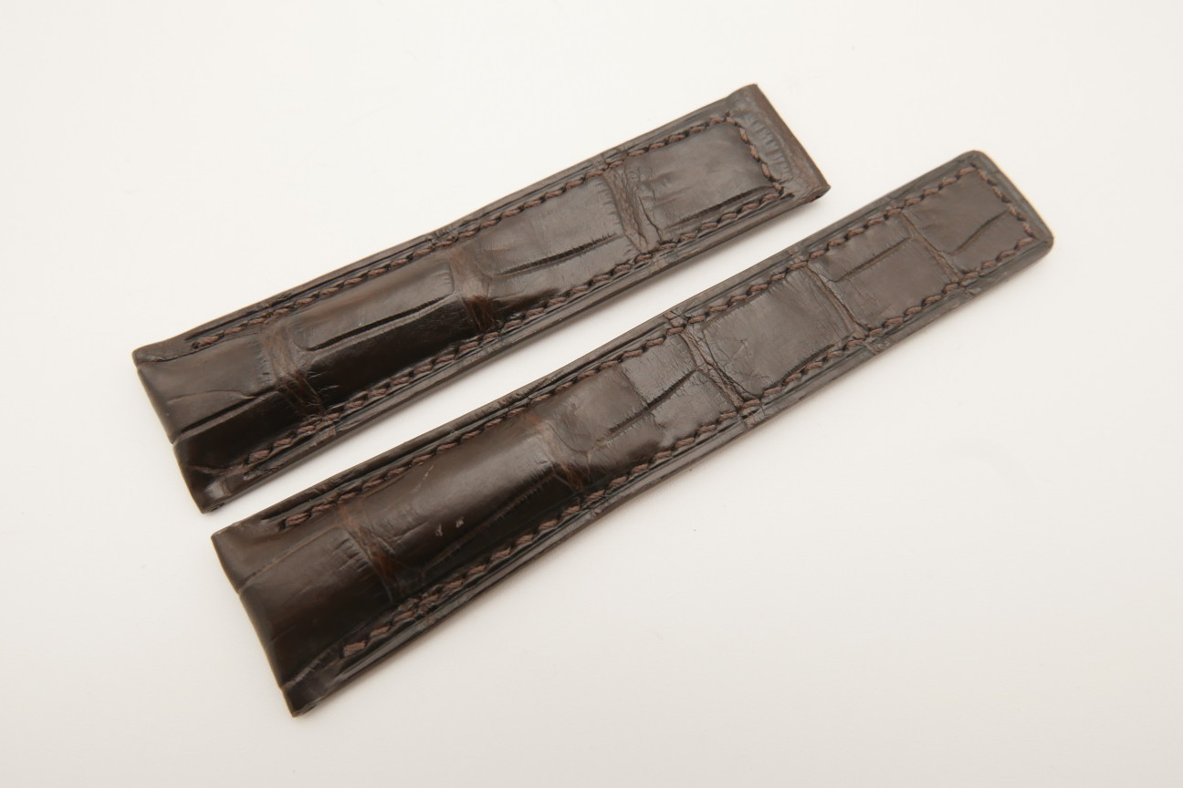21mm/18mm Dark Brown Genuine CROCODILE Skin Leather Deployment Strap For Tag Heuer #WT4883
