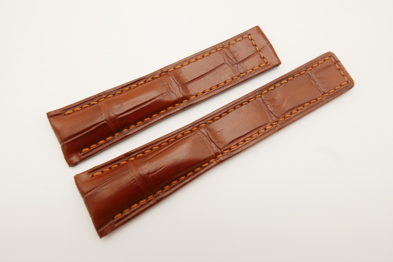 21mm/18mm Red Brown Genuine CROCODILE Skin Leather Deployment Strap For Tag Heuer #WT4884