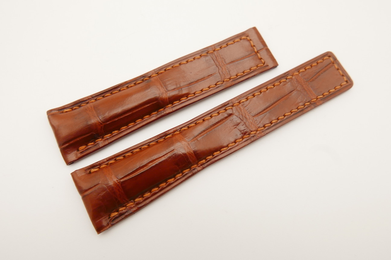 21mm/18mm Red Brown Genuine CROCODILE Skin Leather Deployment Strap For Tag Heuer #WT4885