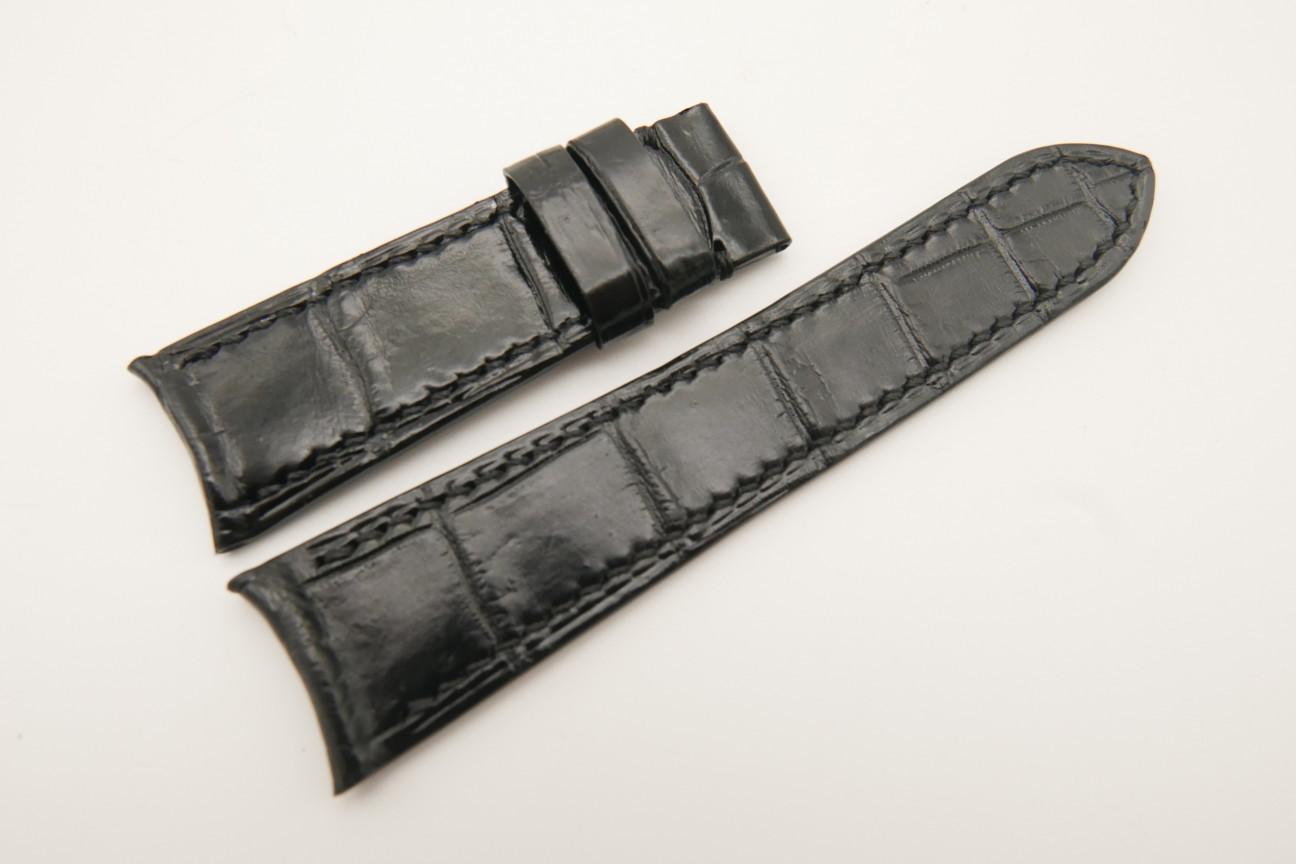 21mm/18mm Black Genuine CROCODILE Skin Leather Curved End Watch Strap For JLC #WT4886