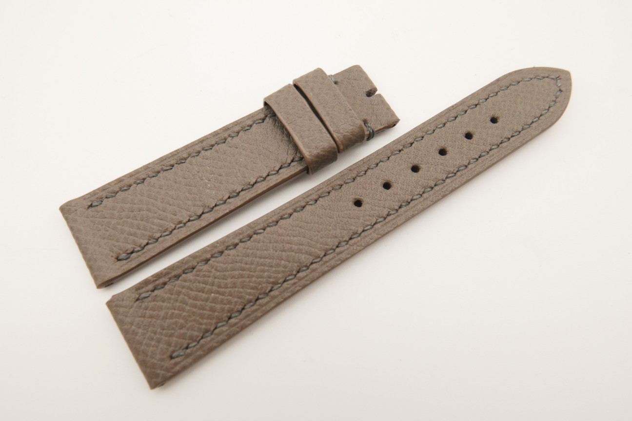 18mm/16mm Taupe Genuine EPSOM CALF Skin Leather Watch Strap#WT4890