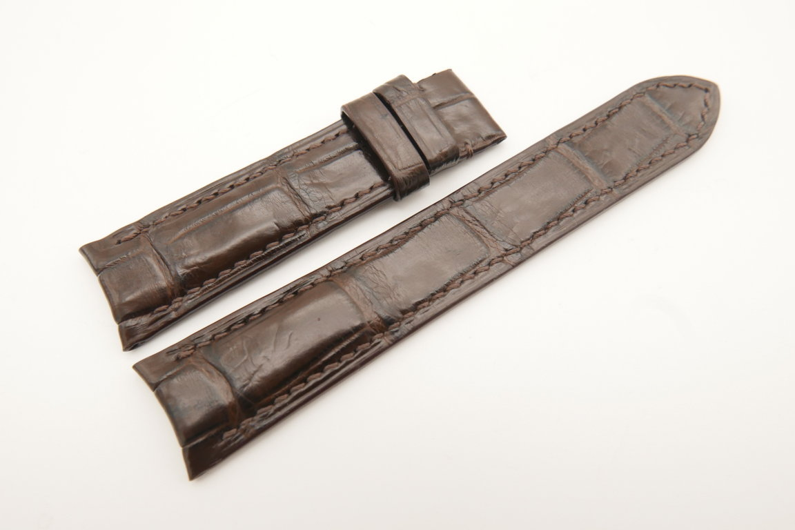 20mm/18mm Dark Brown Genuine CROCODILE Double Sided Skin Leather Curved End Watch Strap For JLC #WT4974