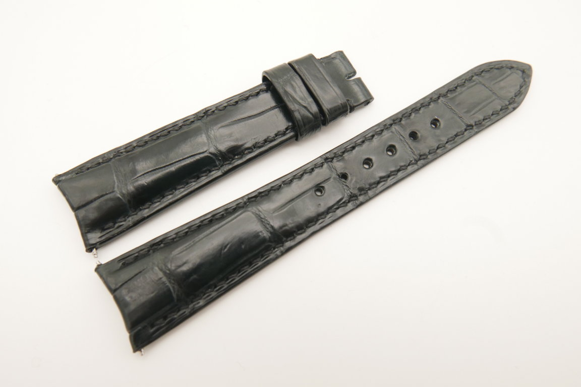 20mm/18mm Black Gray Genuine CROCODILE Skin Leather Curved End Watch Strap For JLC #WT4975