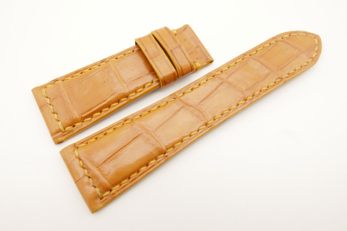 26mm/22mm Tan Brown Genuine CROCODILE Skin Leather Watch Strap for Panerai #WT4986