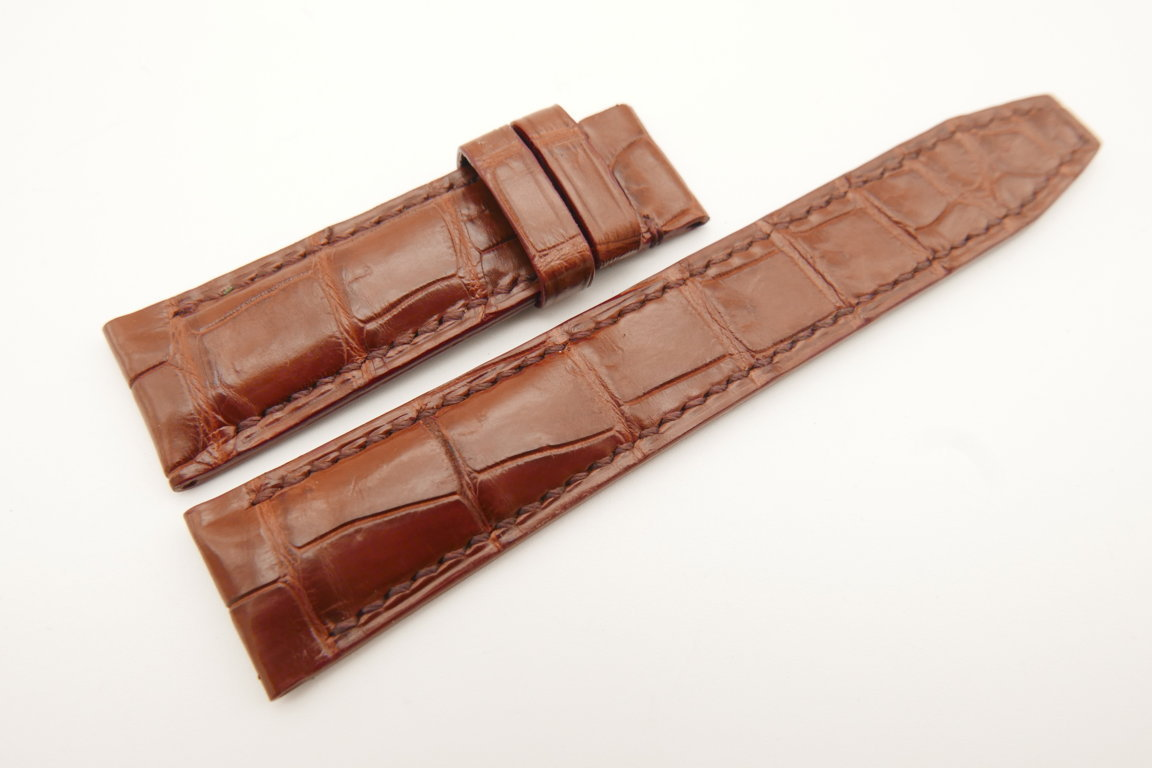 20mm/18mm Red Brown Genuine CROCODILE Skin Leather Deployment Strap for IWC #WT4988