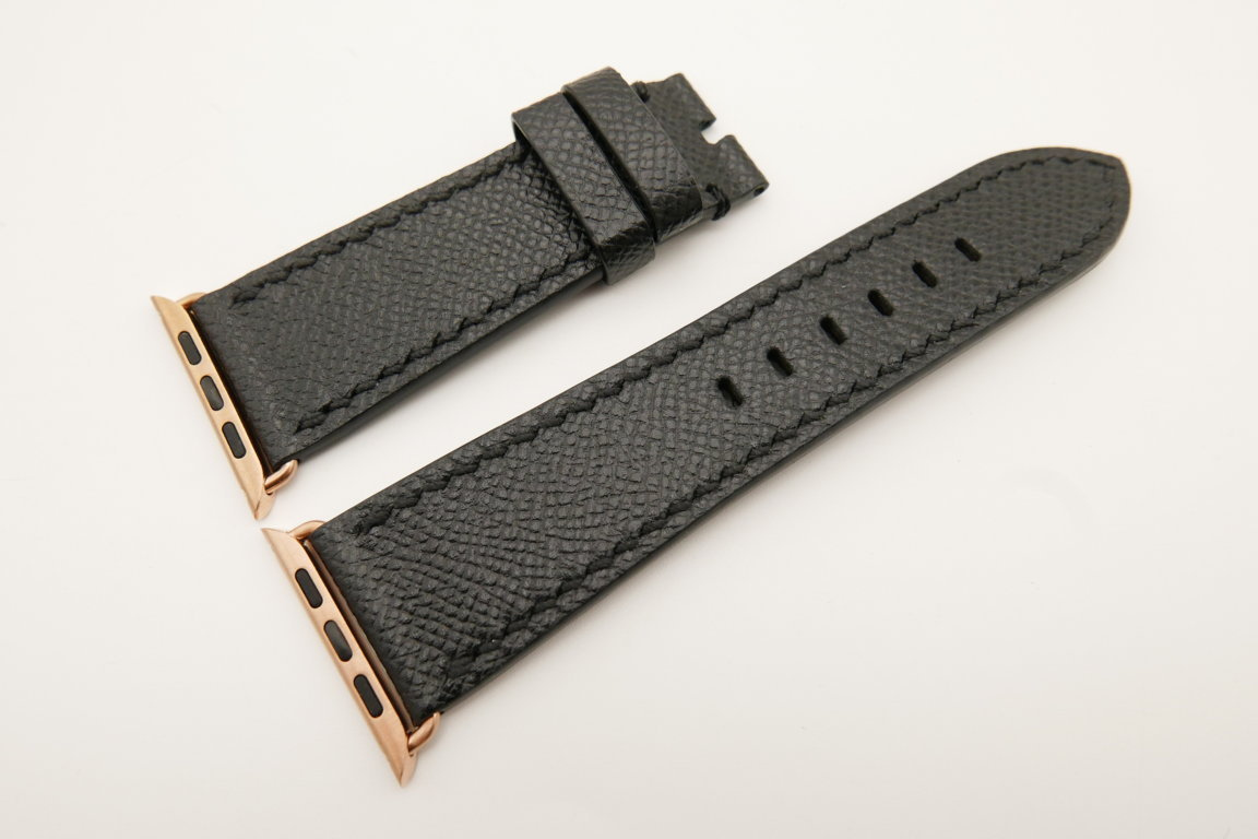 26mm/22mm Black Genuine Epsom Calf Leather Watch Strap for Apple Watch 42mm #WT4892