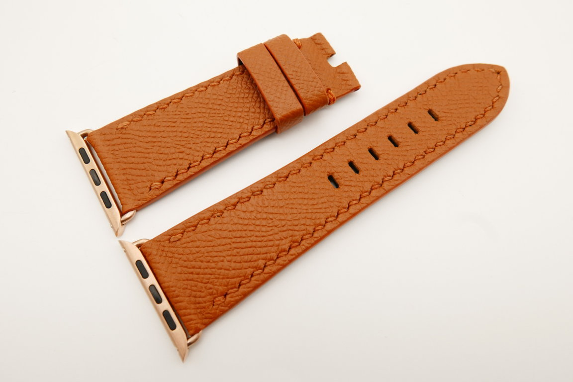 26mm/22mm Cognac Genuine Epsom Calf Leather Watch Strap for Apple Watch 42mm #WT4893