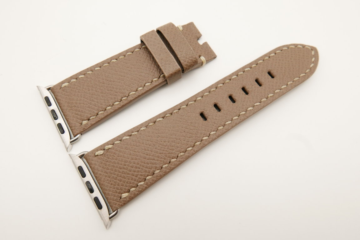 26mm/22mm Taupe Genuine Epsom Calf Leather Watch Strap for Apple Watch 42mm #WT4896