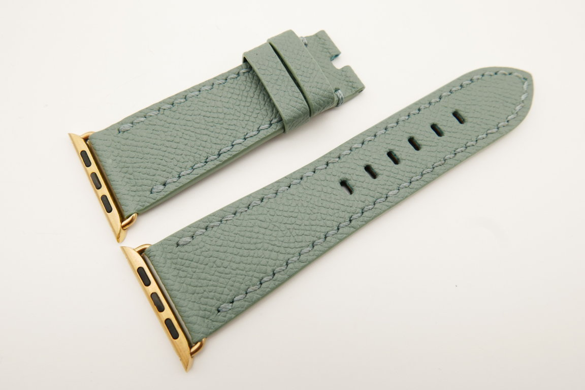 26mm/22mm Light Green Genuine Epsom Calf Leather Watch Strap for Apple Watch 42mm #WT4899