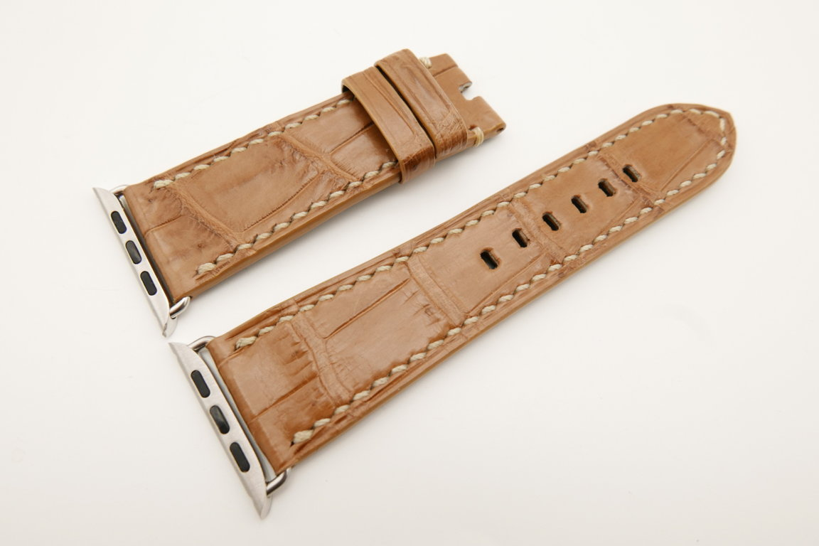 26mm/22mm Light Brown Genuine CROCODILE Leather Watch Strap for Apple Watch 42mm #WT4904
