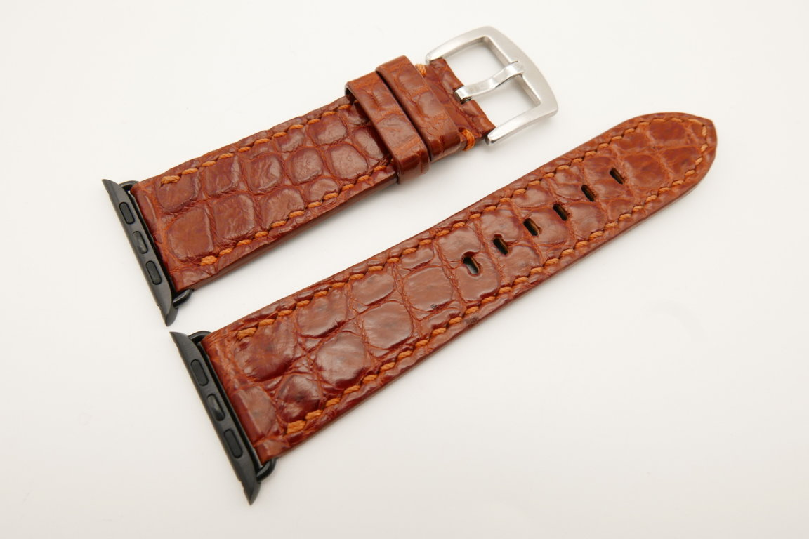 26mm/22mm Red Brown Genuine CROCODILE Leather Watch Strap for Apple Watch 42mm #WT4905