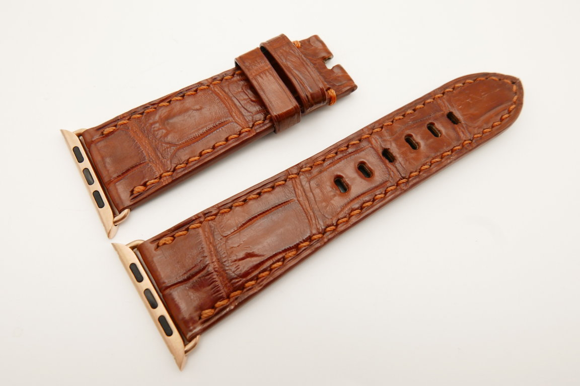 26mm/22mm Red Brown Genuine CROCODILE Leather Watch Strap for Apple Watch 42mm #WT4906