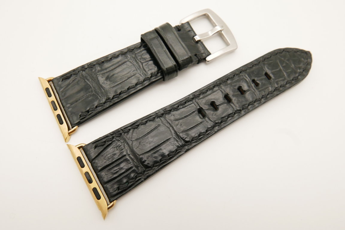 26mm/22mm Black Genuine CROCODILE Leather Watch Strap for Apple Watch 42mm #WT4912