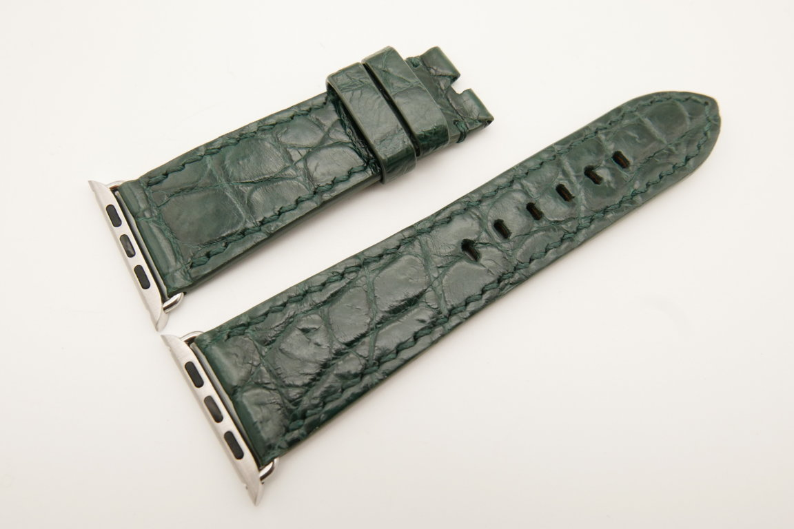 26mm/22mm Green Genuine CROCODILE Leather Watch Strap for Apple Watch 42mm #WT4913