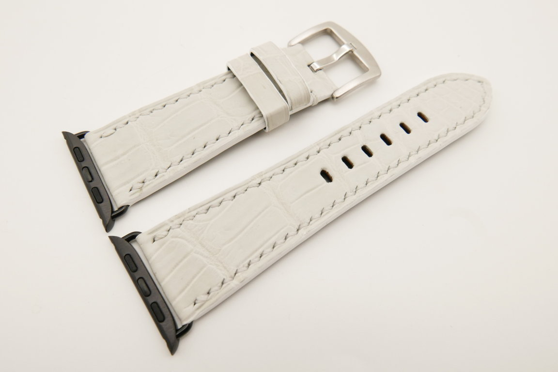 26mm/22mm White Genuine CROCODILE Leather Watch Strap for Apple Watch 42mm #WT4915