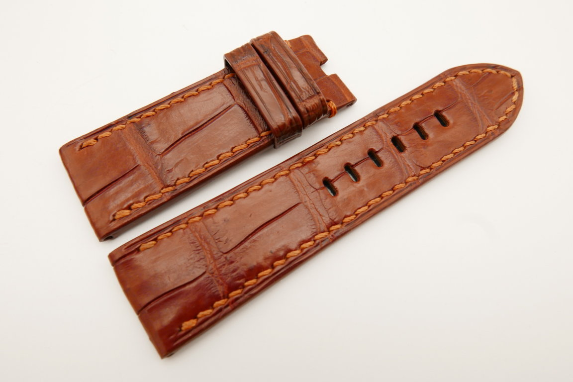 26mm/24mm Red Brown Genuine CROCODILE Skin Leather Watch Strap For Panerai #WT4925
