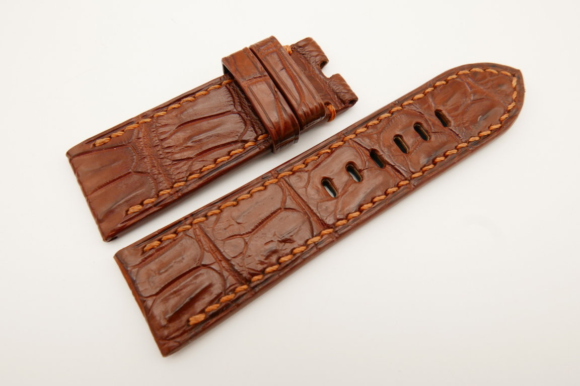 26mm/24mm Red Brown Genuine CROCODILE Skin Leather Watch Strap For Panerai #WT4926