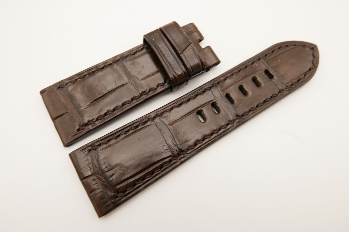26mm/24mm Dark Brown Genuine CROCODILE Skin Leather Watch Strap For Panerai #WT4927