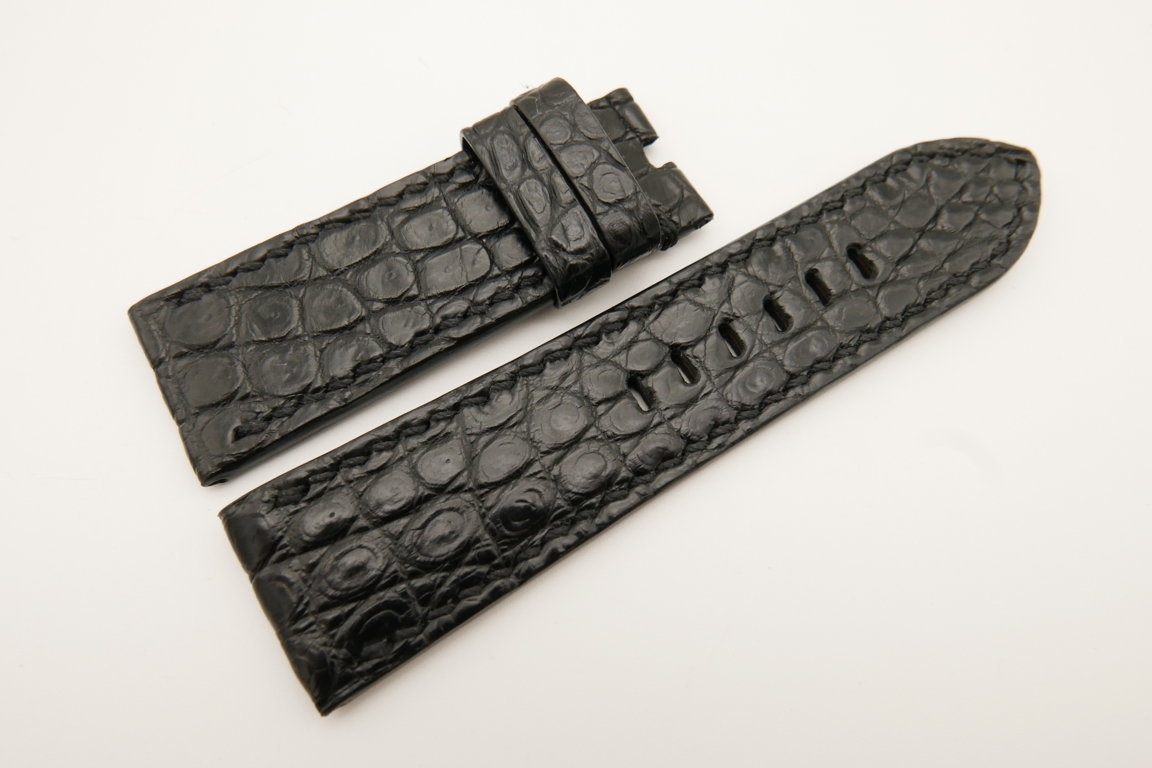 26mm/24mm Black Genuine CROCODILE Skin Leather Watch Strap For Panerai #WT4930